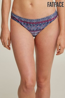FatFace Blue Batik Stripe Reversible Bikini Brief
