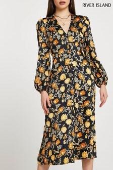 River Island Black Floral Belted Midi Dress