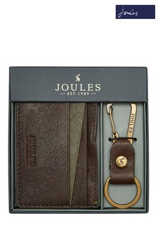 Joules Brown Hobson Leather Card Holder And Keyring Gift Set