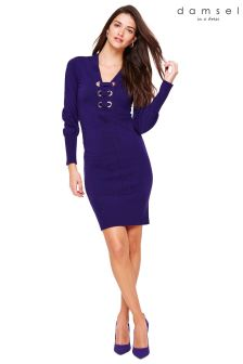 Damsel In A Dress Purple Elora Fold Over Knitted Dress
