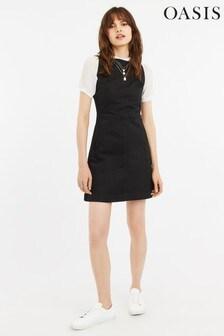Oasis Black Denim Slash Neck Dress