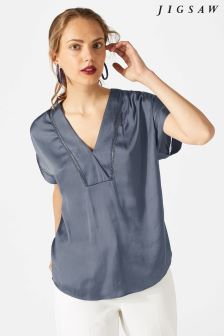 Jigsaw Grey Crocus Drape Top