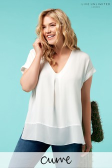 Live Unlimited White Morocain Blouse With Chiffon Hem