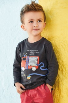 Fire Engine Long Sleeve T-Shirt (3mths-7yrs)
