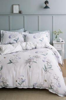 Cotton Sateen Botanical Sketch Floral Duvet Cover And Pillowcase Set
