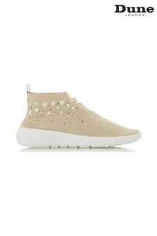 Dune London Gold Knitted Sport Trainer