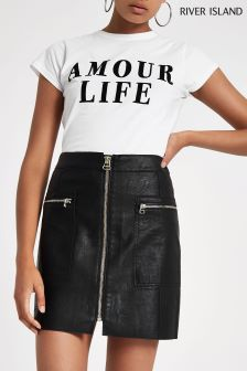 River Island Biker Mini Faux Leather Skirt