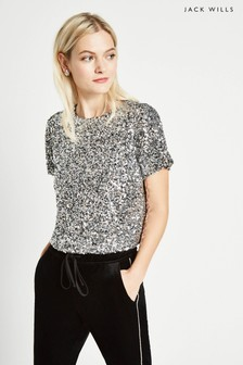Jack Wills Silver Kaylynne Sequin Tee