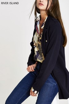 River Island Navy Long Jersey Blazer