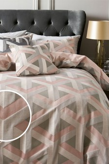 Optical Geo Blush Duvet Cover and Pillowcase Set