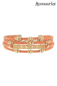 Accessorize Pink Beach Comber Multi Cord Bracelet