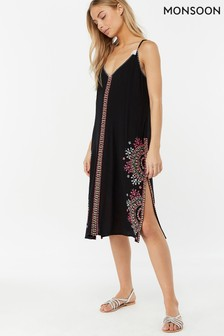 Monsoon Ladies Black Sabrina Embroidered Slip Dress