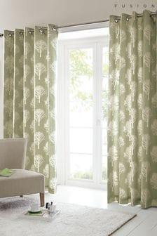 Fusion Green Woodland Trees Eyelet Curtains