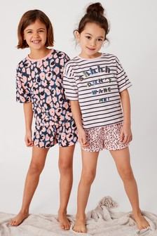 Leopard Print Short Pyjamas Two Pack (3-16yrs)