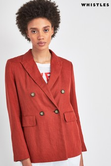 Whistles Rust Linen Double Breasted Blazer