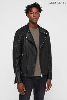 AllSaints Black Jasper Leather Biker Jacket