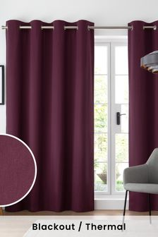 Purple Cotton Eyelet Blackout/Thermal Curtains