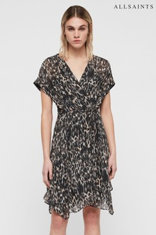 All Saints Grey Leopard Claria Dress