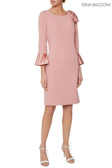 Gina Bacconi Pink Uma Moss Crepe And Satin Dress