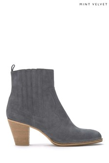 Mint Velvet Grey Sophie Stitch Cowboy Boot