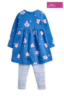 Joules Blue Petal Floral Jersey Dress and Legging Set