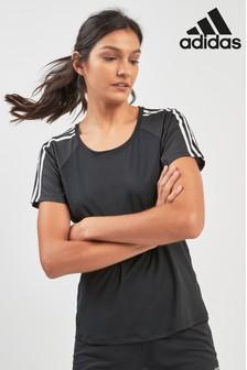 adidas Black 3 Stripe Training Tee