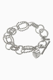 Heart Charm Detail Link Bracelet