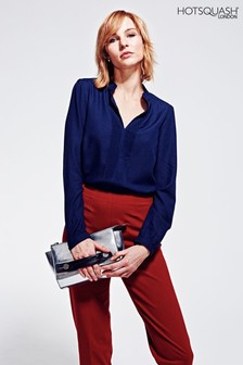 HotSquash Navy Blouse With Pleat Front
