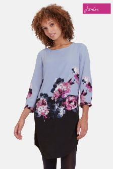 Joules Grey Winter Floral Woven Dress