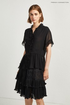 French Connection Black Ruffle Sleeve Blouse