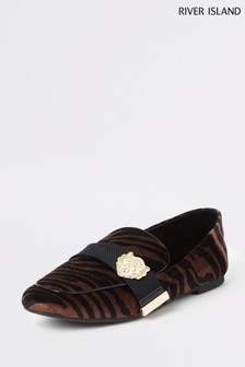 River Island Orange Tiger Print Hardware Loafer