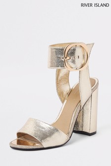 River Island Gold Two Part Block Heel