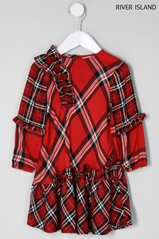 River Island Red Check Shift Long Sleeve Dress