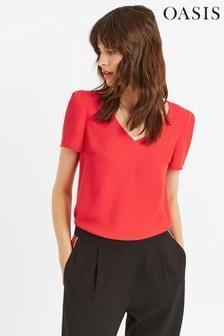 Oasis Red V-Neck T-Shirt