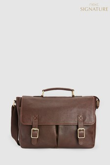Signature Leather Twin Pocket Briefcase