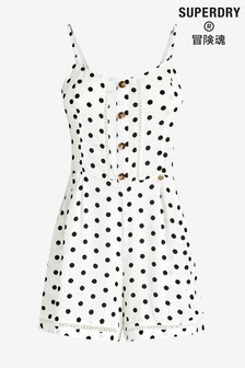 Superdry White Polka Dot Playsuit