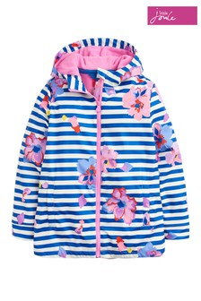 Joules Blue Raindance Girls Rubber Coat