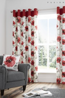 Fusion Red Adriana Floral Lined Eyelet Curtains