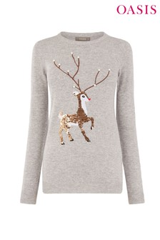 Oasis Grey Reindeer Xmas Jumper