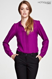 HotSquash Berry Blouse With Pleat Front