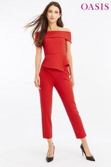 Oasis Red Got High Waist Panel Trouser