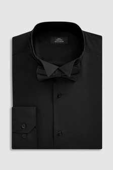Slim Fit Single Cuff Wing Collar Shirt And Bow Tie Set