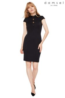 Damsel In A Dress Black Maddie Button Detail Dress