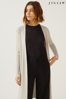 Jigsaw Cream Long Rib Cardigan