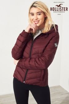 Hollister Burgundy Lightweight Down Puffa Jacket