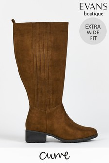 Evans Curve Extra Wide Fit Brown PU Boots
