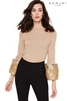 Damsel In A Dress Neutral Willow Faux Fur Cuff Knit Jumper