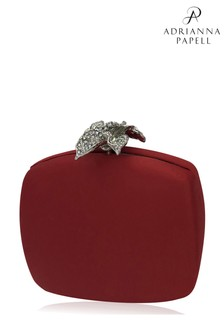 Adrianna Papell Red Vida Satin Clutch