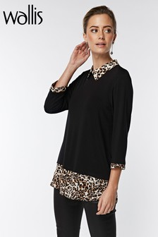 Wallis Petite Black Leopard Print Layered Top