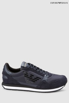Emporio Armani Navy Leather Suede Trainer